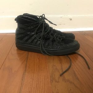 damir doma black leather high tops size 42